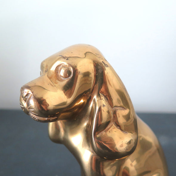 Vintage Brass Cocker Spaniel Dog close up