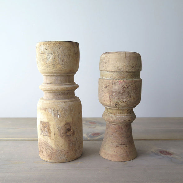 Reclaimed Rustic Wood Candle Holders