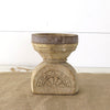 Reclaimed Candle Holder with Carved Design back view