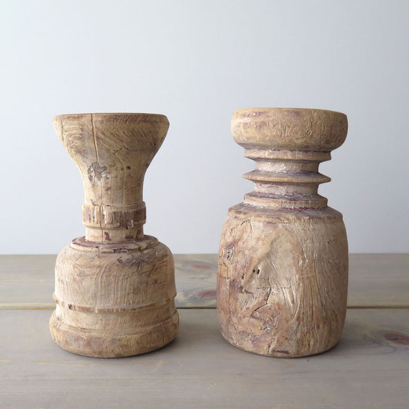 Rustic Reclaimed Wood Candle Holders Pair