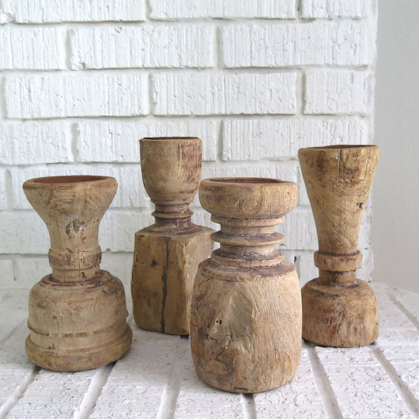Rustic Reclaimed Wood Candle Holders Pair vignette