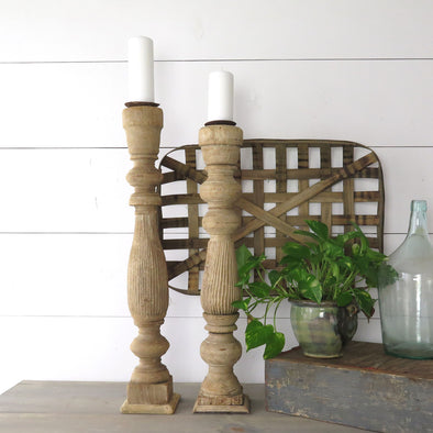 Reclaimed Pair Baluster Candle Holders