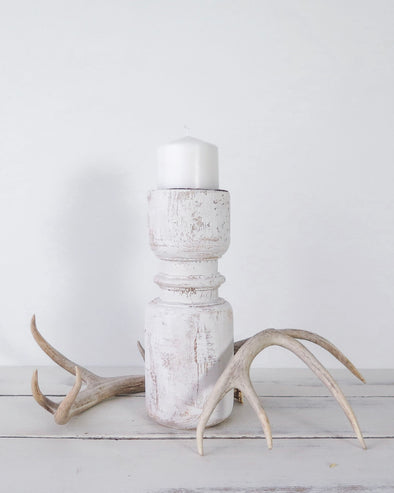 Candle Holder with Distressed White Paint