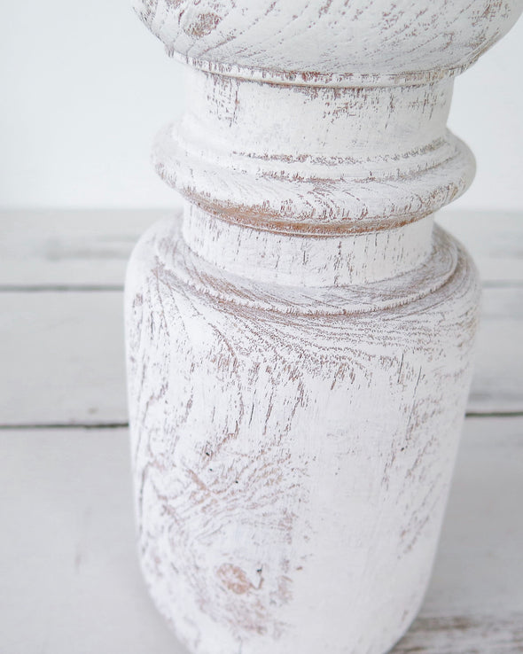 Candle Holder with Distressed White Paint close up