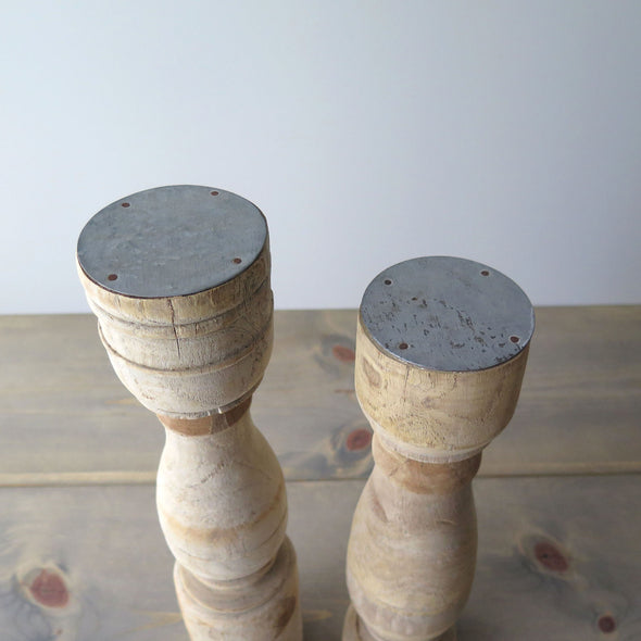 Pair Reclaimed Wood Candle Holders top