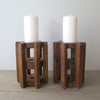 Repurposed Wood Gear Candle Holders