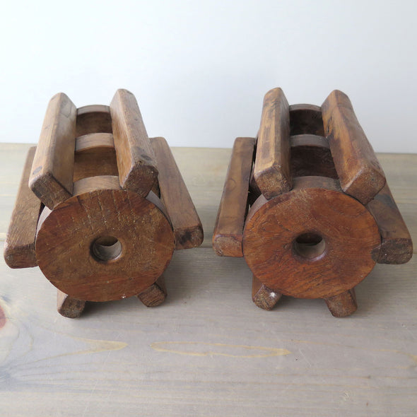 Repurposed Wood Gear Candle Holders bottom