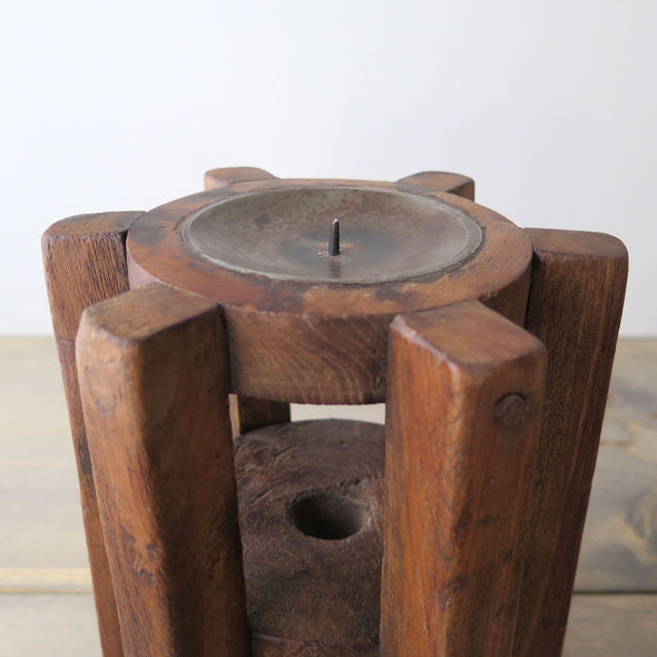 Repurposed Wood Gear Candle Holders top