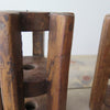 Repurposed Wood Gear Candle Holders close up