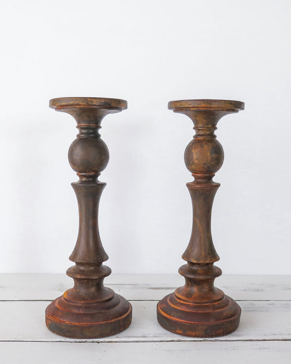 Rust Painted Candle Holders Pair