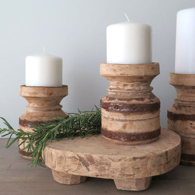 Rustic Pair Wood Candle Holders with Metal Bands