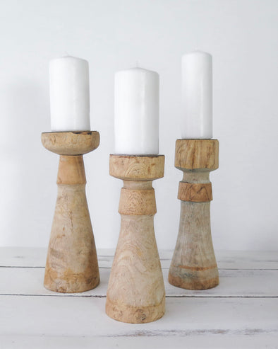 Reclaimed Wood Candle Holders, Set of 3