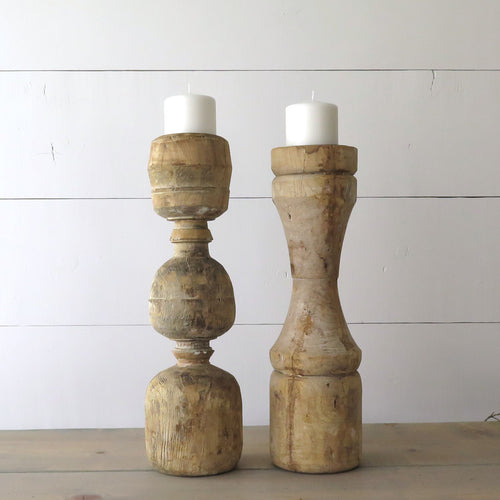 Large Reclaimed wood Baluster Candle Holders