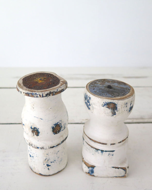 Small Distressed Painted Candle Holders