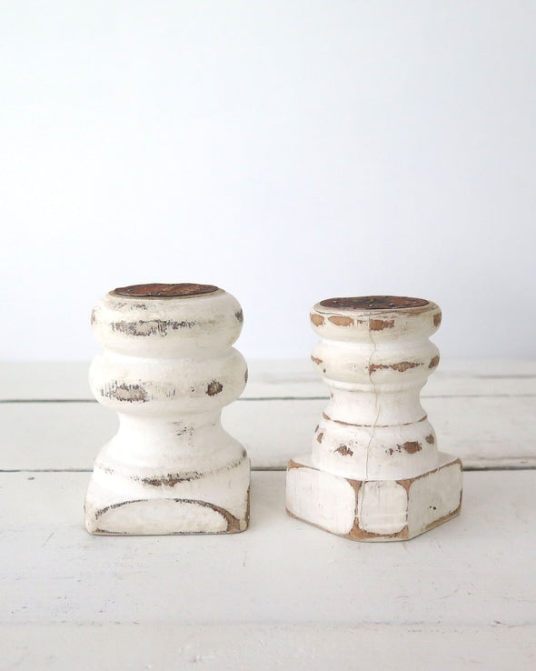 Small Pair Distressed Painted Candle Holders