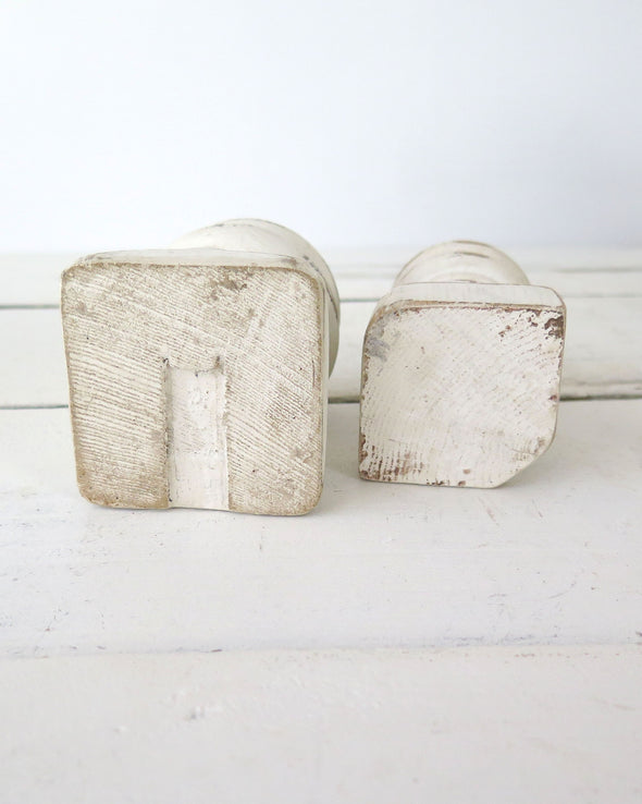 Small Pair Distressed Painted Candle Holders bottom