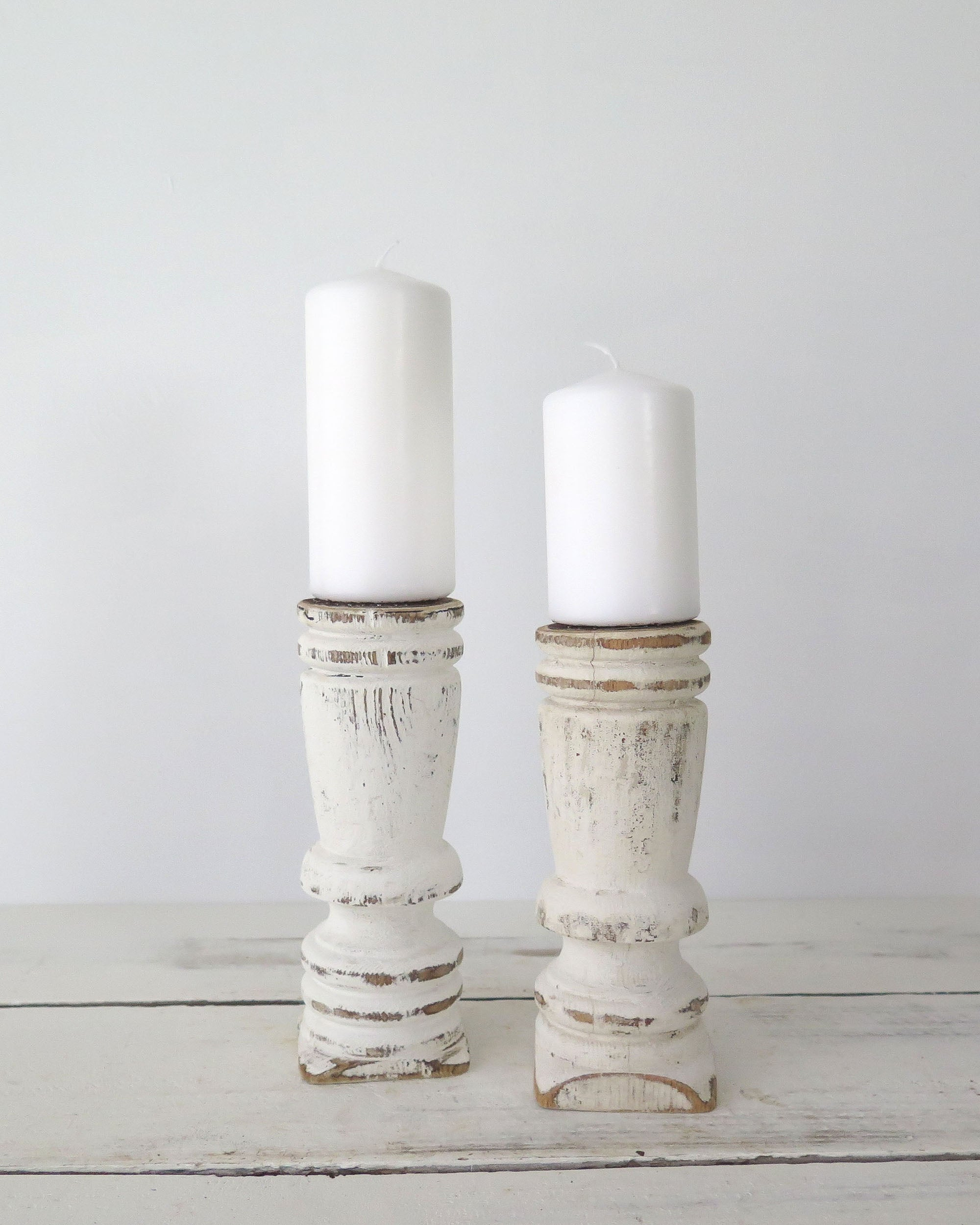 Painted Candle Holders Pair Boulderbluestudio
