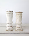 Distressed White Painted Candle Holders