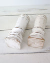 Distressed White Painted Candle Holders bottom