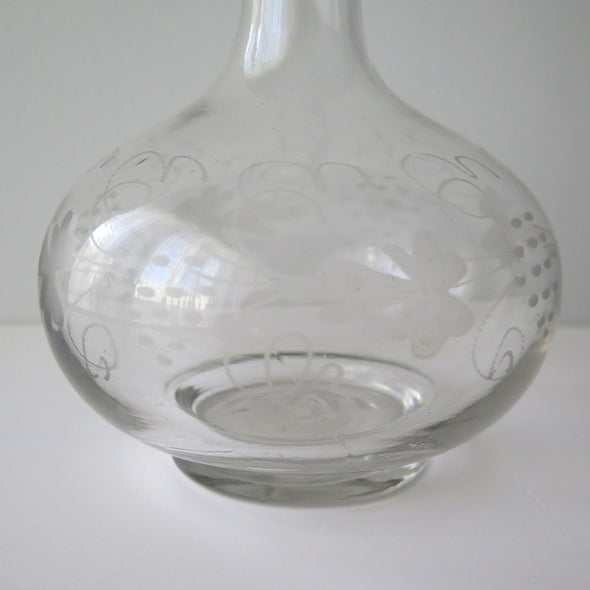 Antique Hand Blown Shaft and Globe Decanter close up