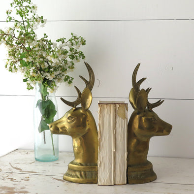Vintage Brass Stag Bookends