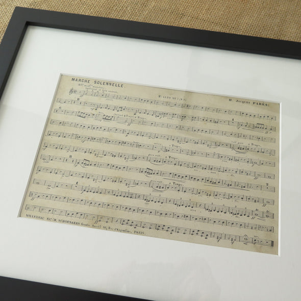 Framed Vintage French Music Sheets