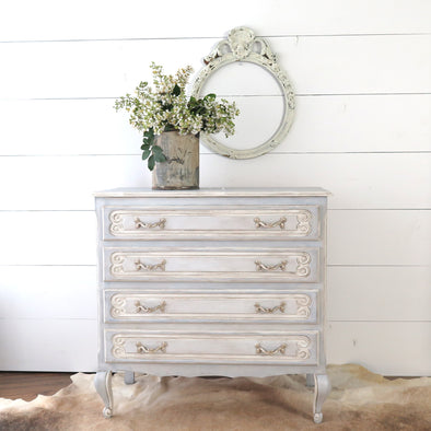 Vintage Painted French Blue Dresser