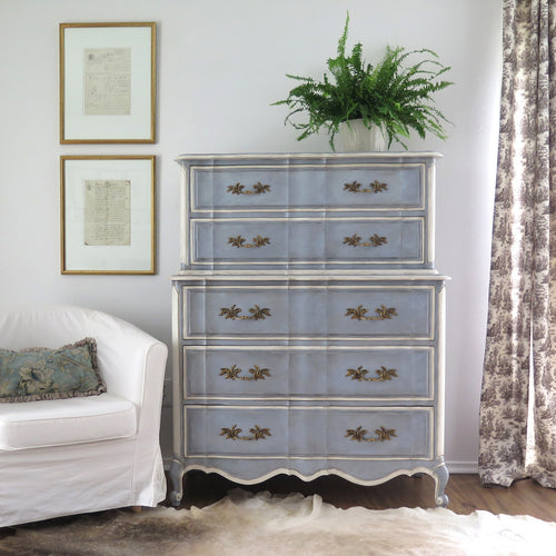 Painted French Provincial Highboy Chest on Chest