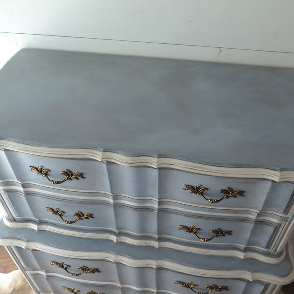 Painted French Provincial Highboy Chest on Chest top