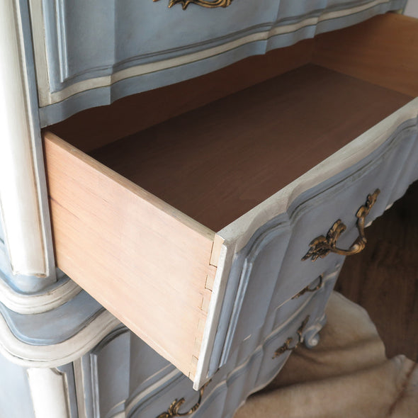 Painted French Provincial Highboy Chest on Chest drawers