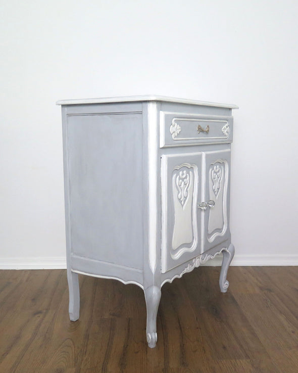 French Provincial Blue Painted Nightstand Cabinet side