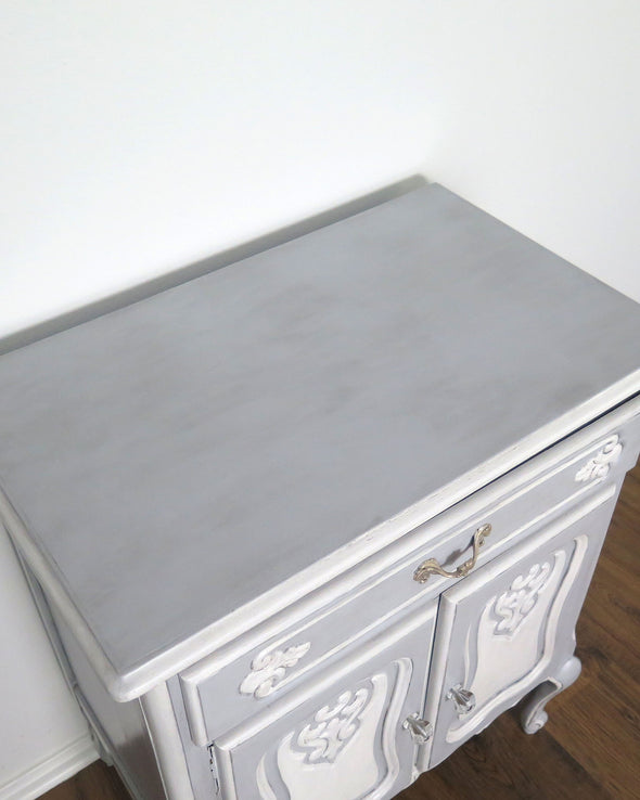 French Provincial Blue Painted Nightstand Cabinet top
