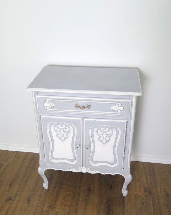 French Provincial Blue Painted Nightstand Cabinet