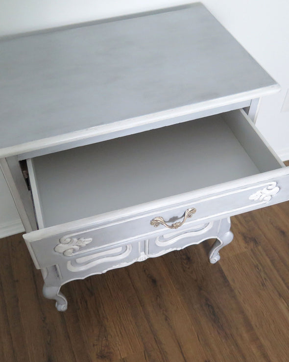 French Provincial Blue Painted Nightstand Cabinet inside drawer