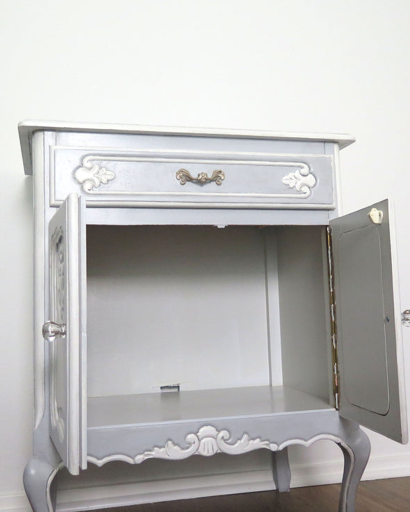 French Provincial Blue Painted Nightstand Cabinet inside cabinet