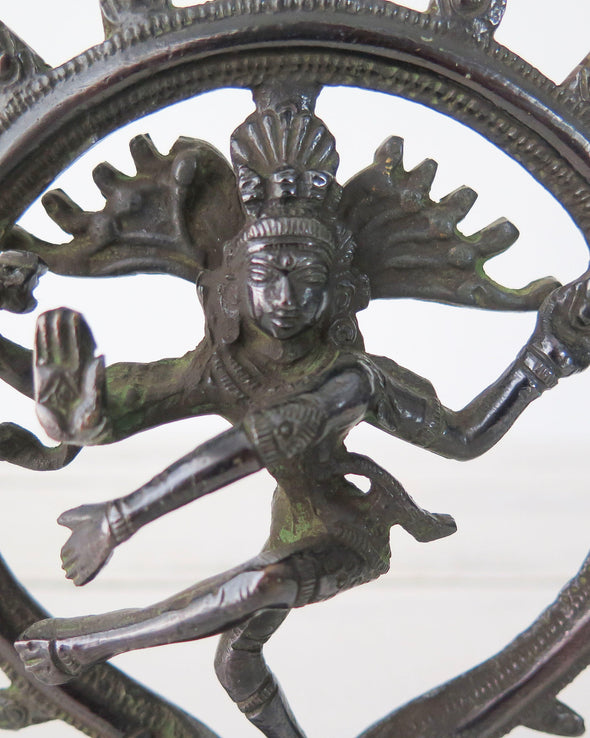 Vintage Brass Hindu Figurine Dancing Shiva Nataraja close up
