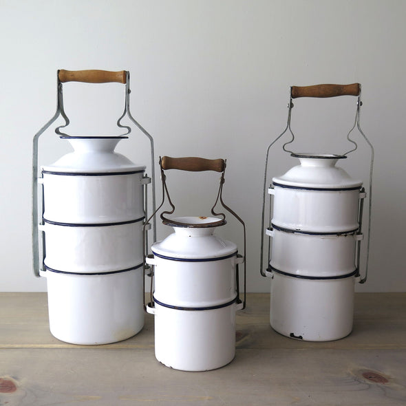 Vintage Hungarian Enamelware Stacked Dinner Pails