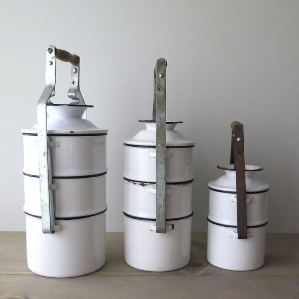 Vintage Hungarian Enamelware Stacked Dinner Pails side view