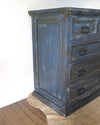 Hand Painted Rustic Indigo Blue Painted Chest side view