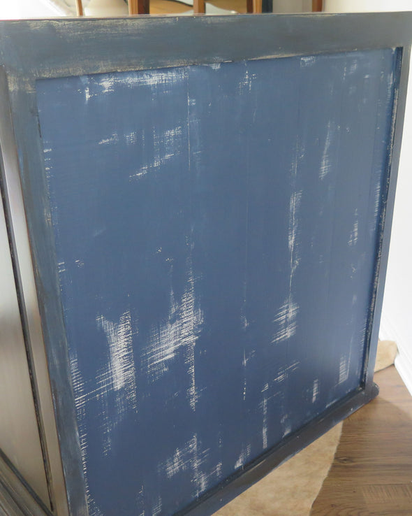 Hand Painted Rustic Indigo Blue Painted Chest back view