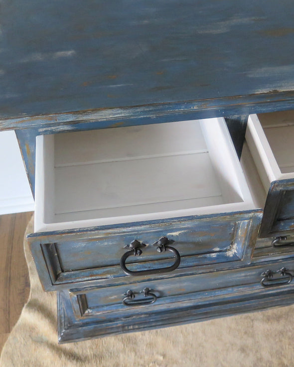Hand Painted Rustic Indigo Blue Painted Chest inside drawer