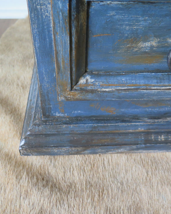 Hand Painted Rustic Indigo Blue Painted Chest close up