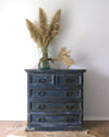 Hand Painted Rustic Indigo Blue Painted Chest