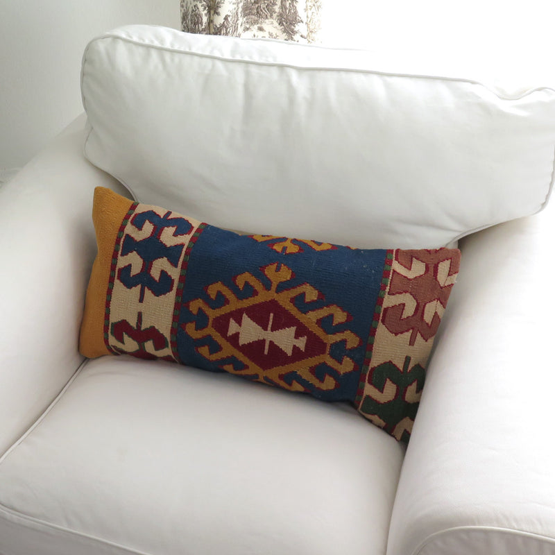 Vintage Turkish Wool Lumbar Pillow