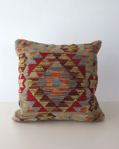 Vintage Turkis Kilim Pillow Cover,  18 x 18 Green, Blue and Orange Wool