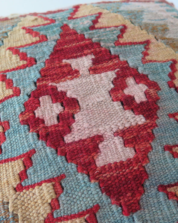 Vintage Kilim Pillow Cover, Turkish Wool Kilim,  18 x 18 Green, Teal and Gold