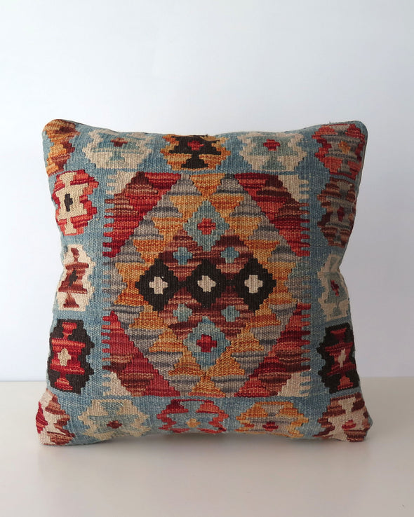 Vintage Kilim Pillow Cover Blue , Brown and Orange Wool