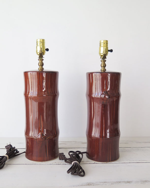 Vintage Ceramic Faux Bamboo Lamps a Pair