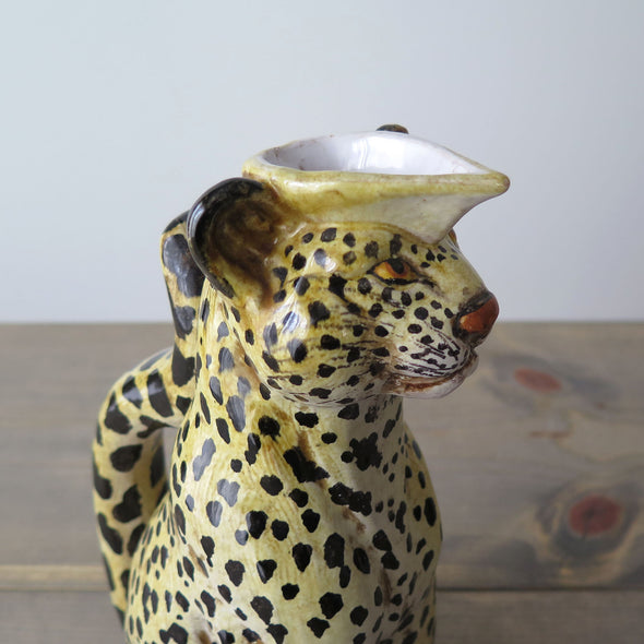 Vintage Italian Terracotta Leopard Pitcher close up