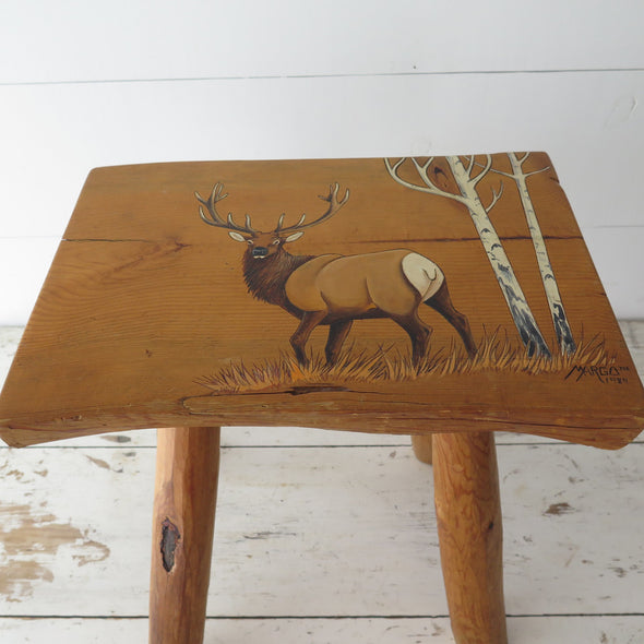 Split Log Painted Elk Side Table